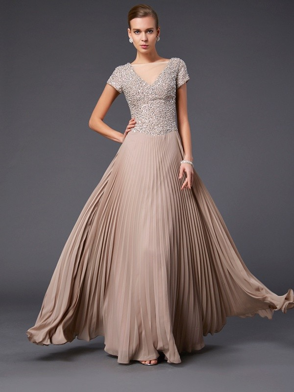 A-Line V-neck Floor-Length Other Prom Dresses with Beading