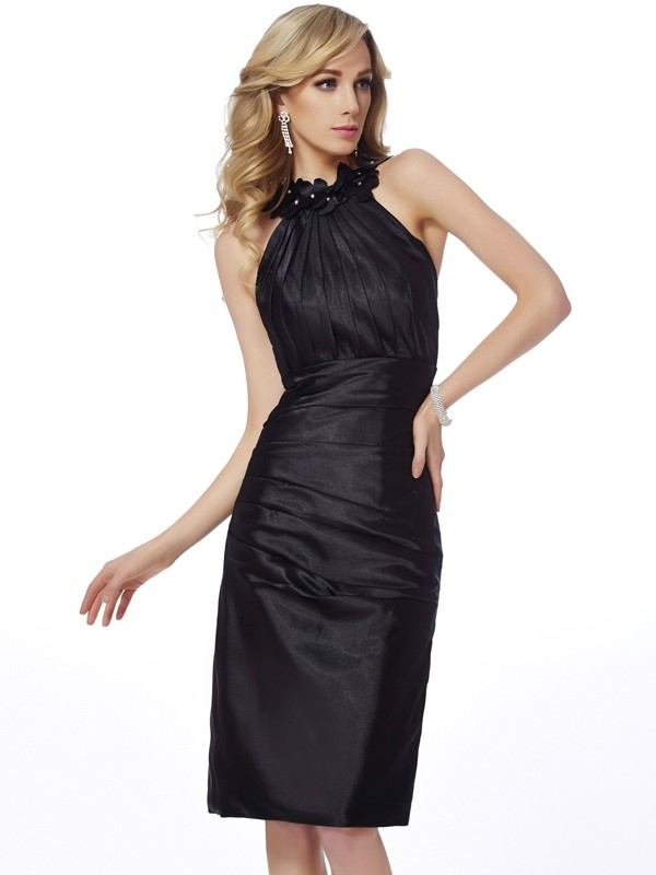 Elastic Woven Satin Bateau Knee-Length Black Homecoming Dresses