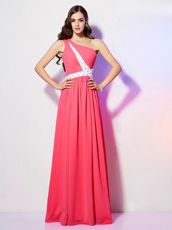 Floor-Length Watermelon One-Shoulder Prom Dresses with Beading