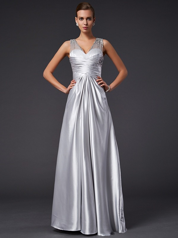 Silver A-Line V-neck Floor-Length Prom Dresses with Beading