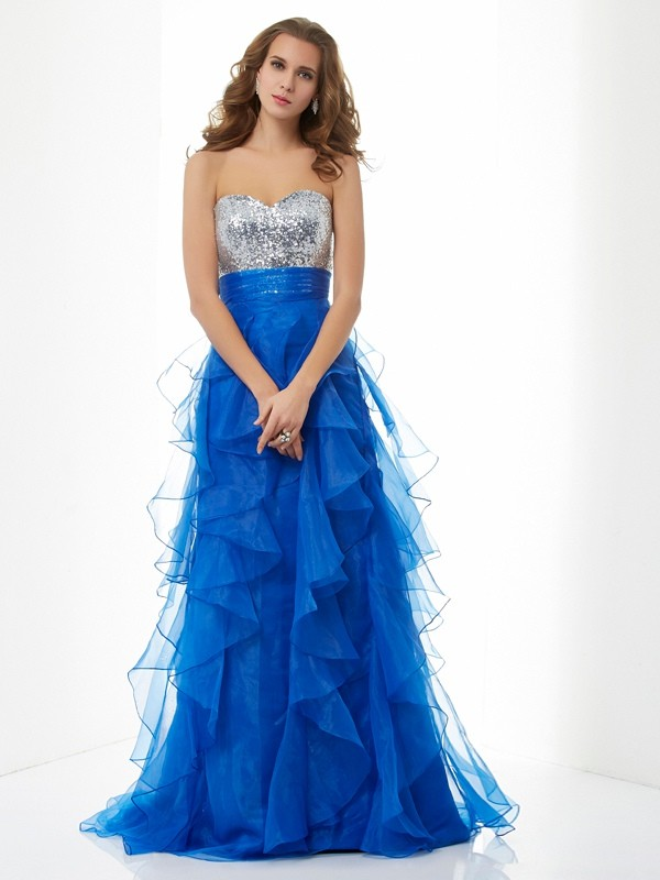 Satin A-Line Floor-Length Sweetheart Royal Blue Prom Dresses
