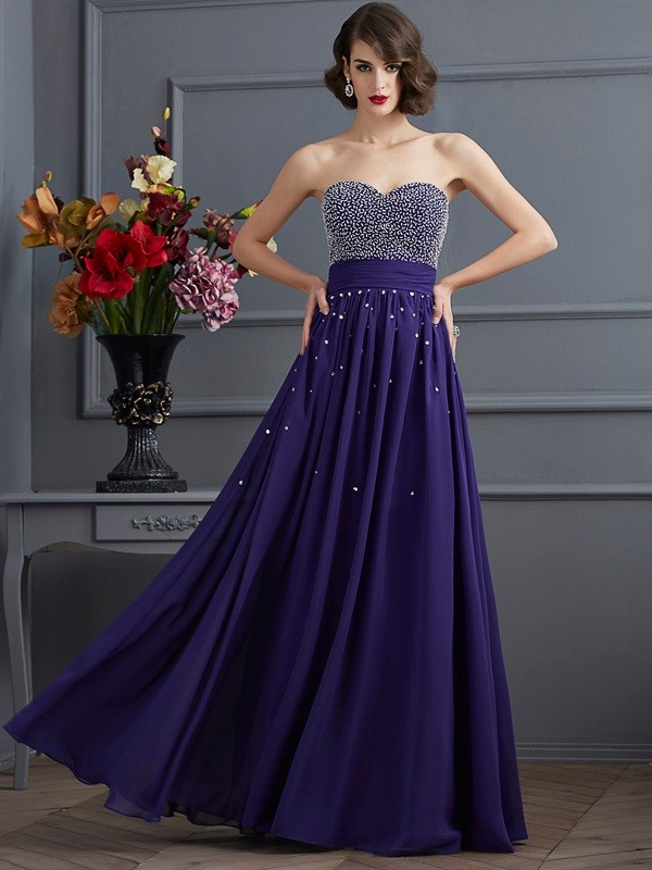 A-Line Sweetheart Floor-Length Regency Prom Dresses with Beading