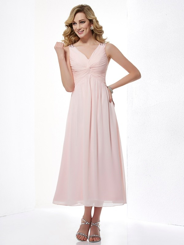 A-Line Chiffon V-neck Tea-Length Pink Prom Dresses