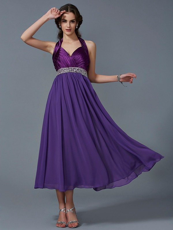A-Line Halter Ankle-Length Regency Prom Dresses