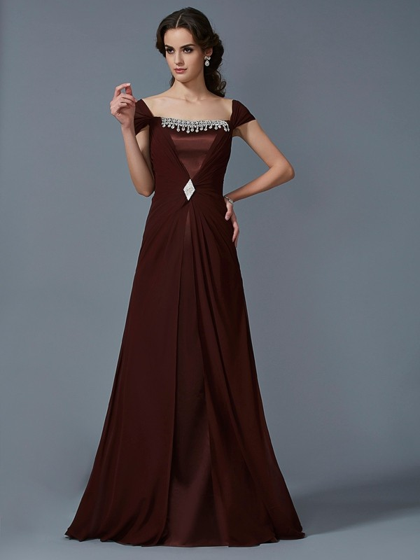 Floor-Length Chocolate Short Sleeves Strapless Prom Dresses