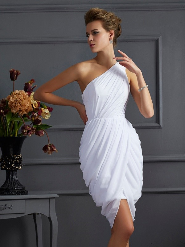 Sheath One-Shoulder Short/Mini White Homecoming Dresses