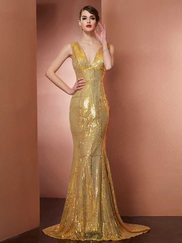 A-Line V-neck Chapel Train Gold Prom Dresses