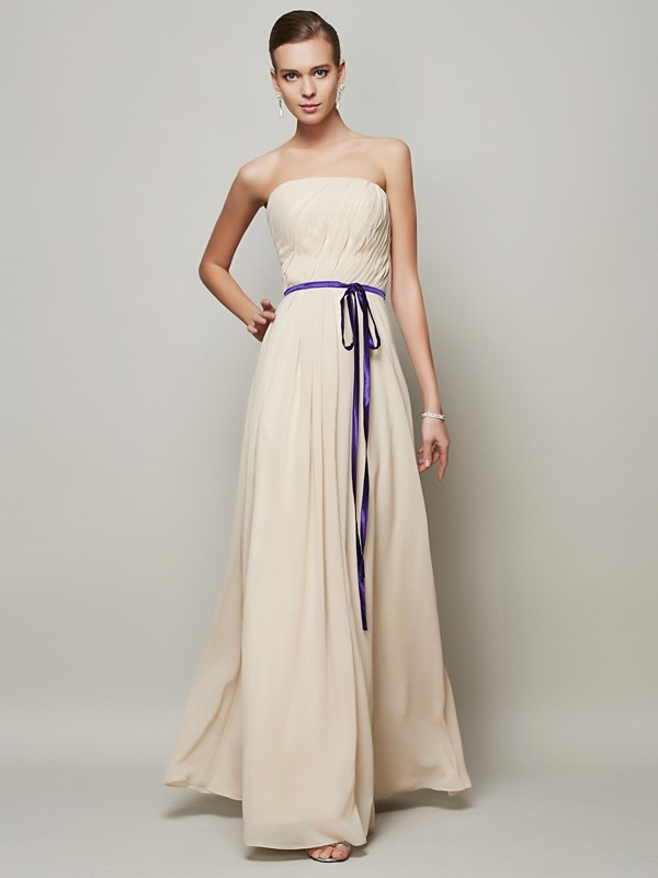 Champagne A-Line Strapless Long Prom Dresses with Sash/Ribbon/Belt