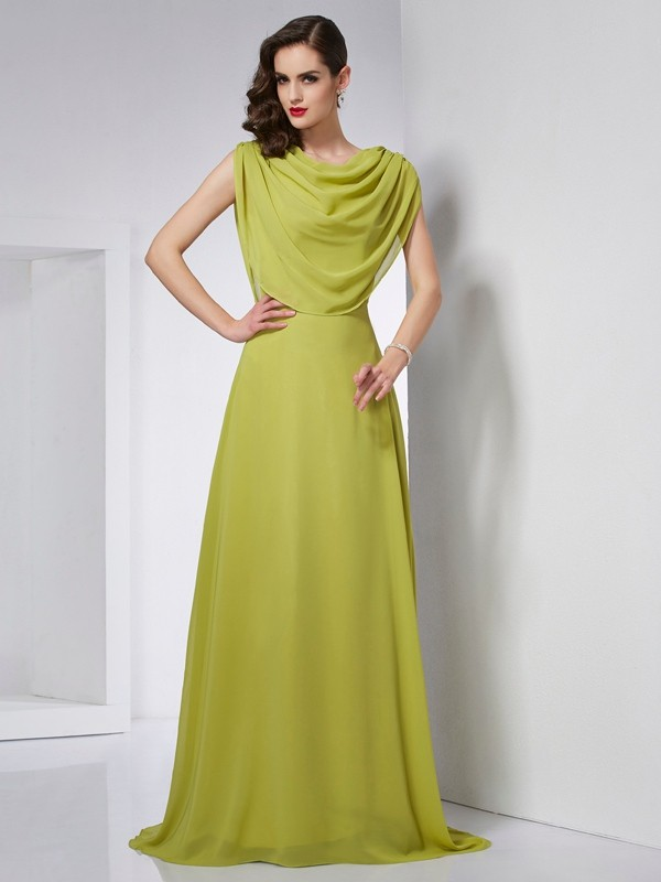 Brush Train Green High Neck Prom Dresses with Pleats