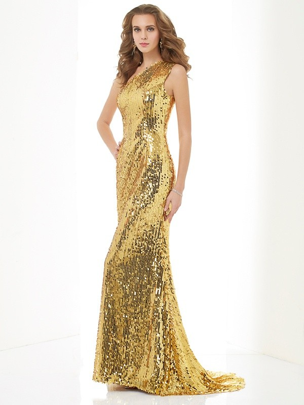 Sheath Lace One-Shoulder Brush Train Prom Dresses with Sequin