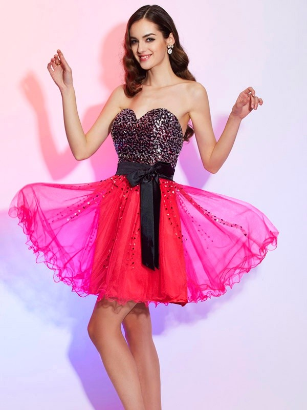 Short/Mini Watermelon Sweetheart Homecoming Dresses