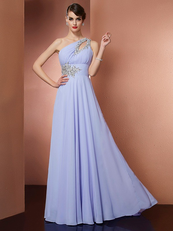 A-Line One-Shoulder Brush Train Lavender Prom Dresses with Beading