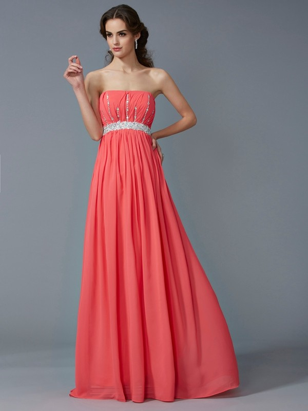A-Line Chiffon Strapless Floor-Length Prom Dresses with Beading