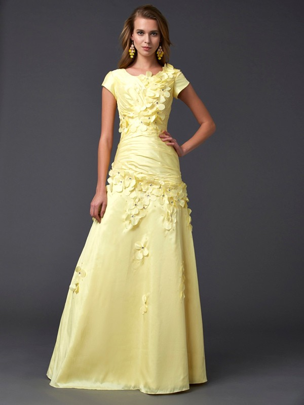 Sheath Taffeta Short Sleeves Scoop Floor-Length Prom Dresses