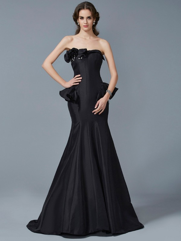 Strapless Brush Train Black Prom Dresses with Ruffles