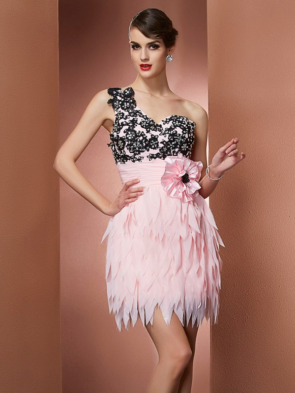 A-Line One-Shoulder Pink Homecoming Dresses with Hand-Made Flower
