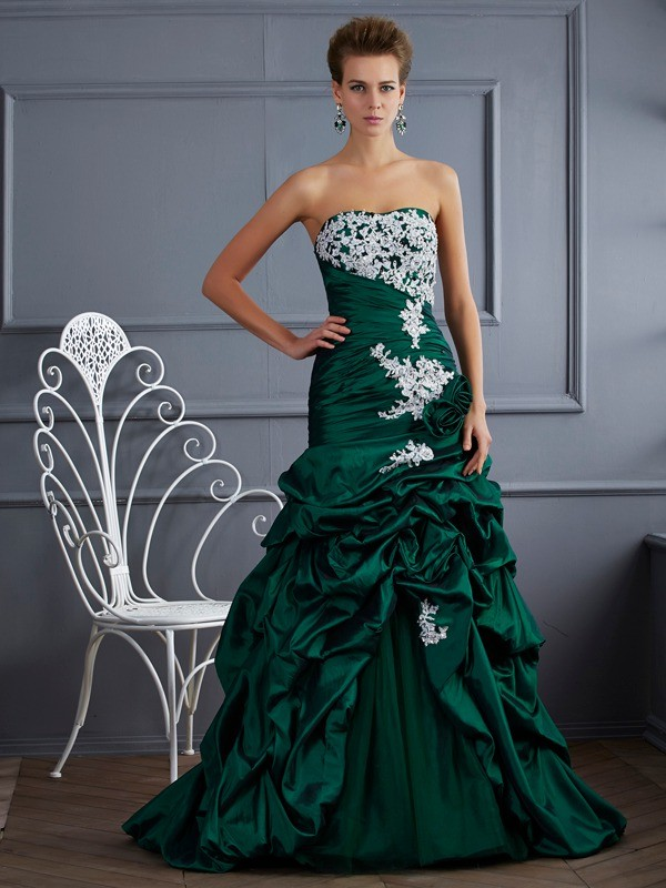 Taffeta Strapless Brush Train Dark Green Prom Dresses