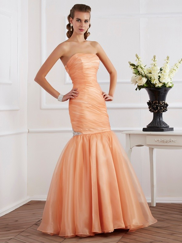 Orange Mermaid Strapless Floor-Length Prom Dresses with Beading