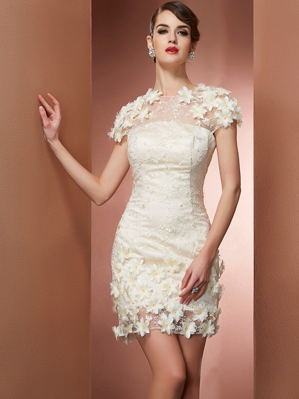 Satin Short/Mini Short Sleeves High Neck Champagne Homecoming Dresses