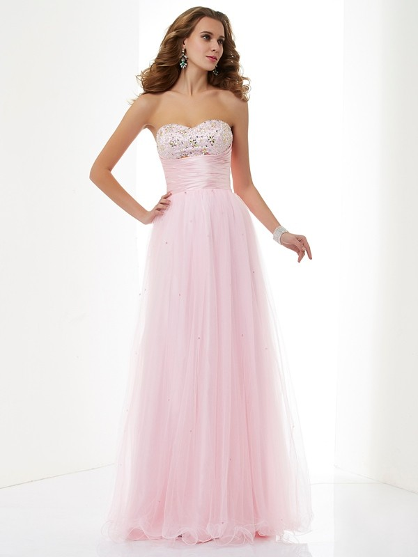 Pink A-Line Sweetheart Floor-Length Prom Dresses with Beading