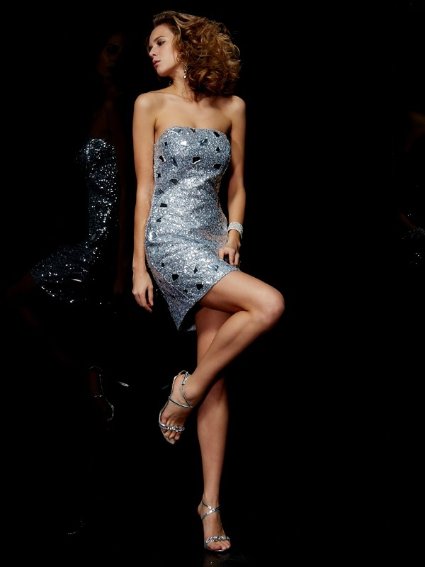 Lace Sheath Short/Mini Strapless Silver Homecoming Dresses