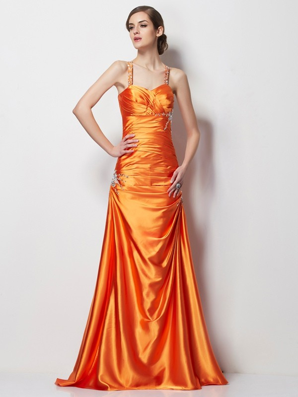 A-Line Spaghetti Straps Brush Train Orange Prom Dresses with Beading