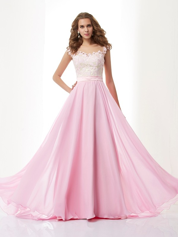 A-Line Chiffon Straps Brush Train Pink Prom Dresses