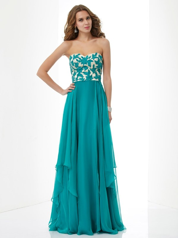 Chiffon Sweetheart Floor-Length Green Prom Dresses