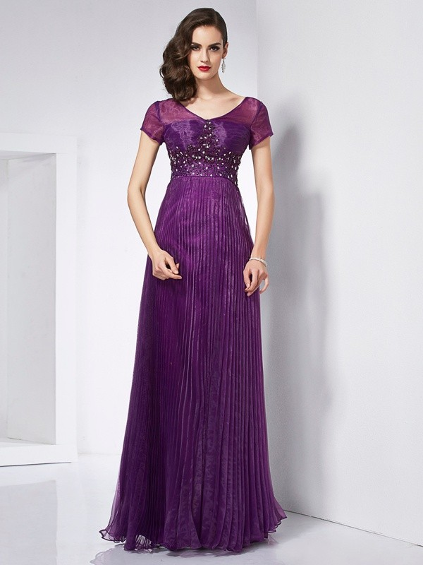 A-Line V-neck Floor-Length Regency Prom Dresses with Beading