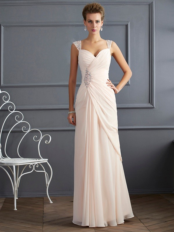 Sheath Straps Floor-Length Champagne Prom Dresses