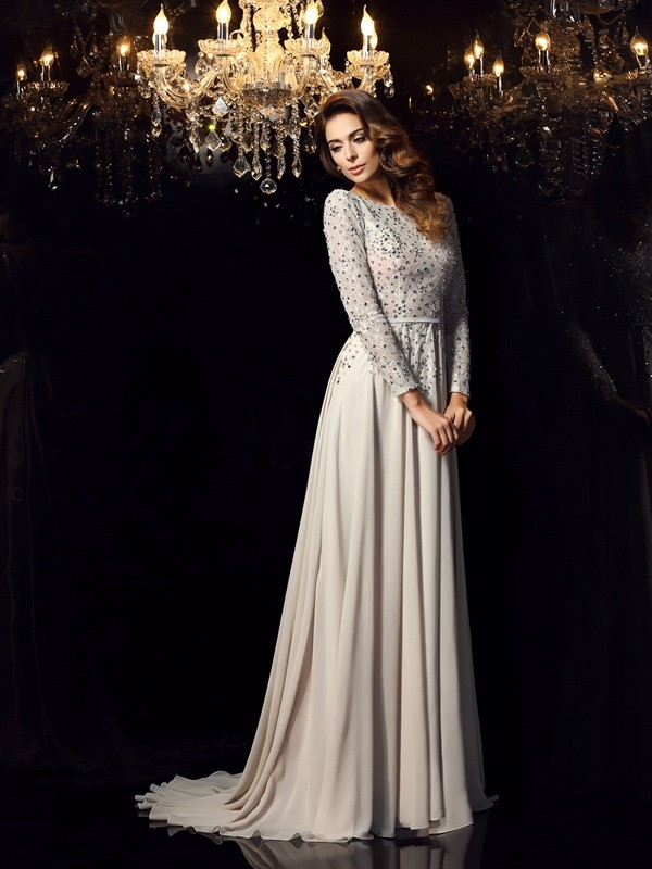 Chiffon Long Sleeves Scoop Court Train Grey Prom Dresses