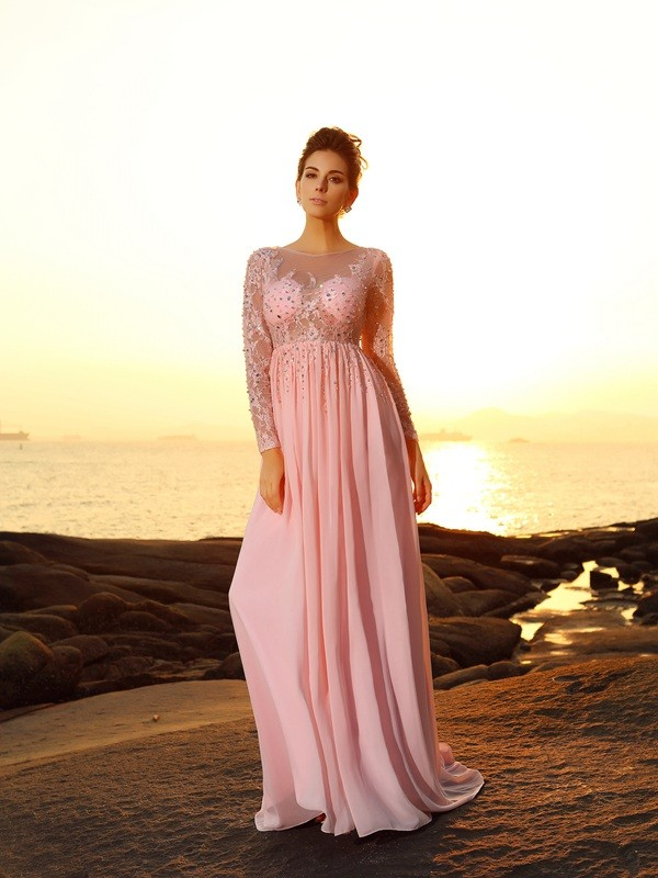 Chiffon Bateau Brush Train Pink Prom Dresses