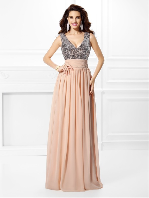 Chiffon A-Line Floor-Length V-neck Pearl Pink Prom Dresses