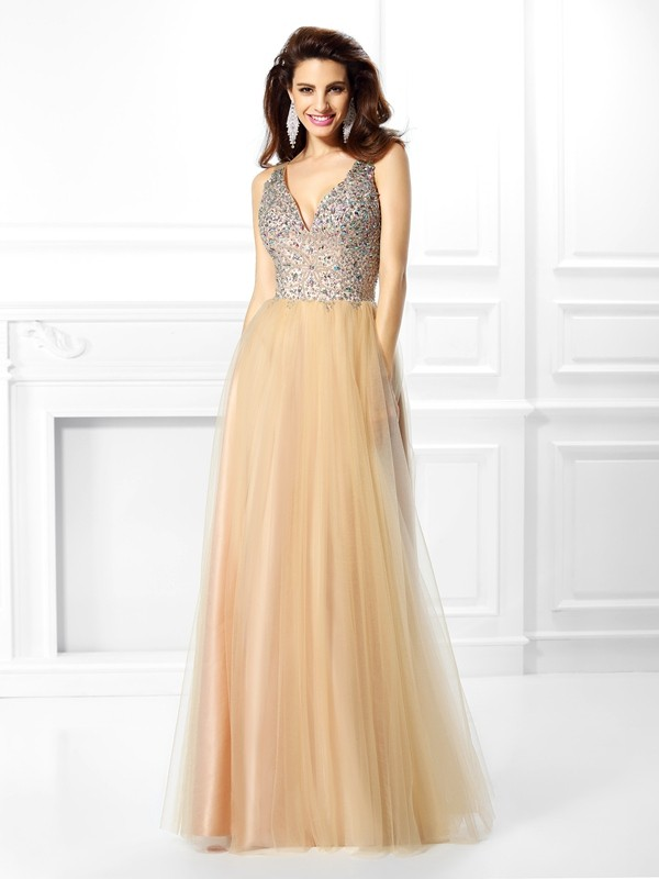 Ball Gown Satin V-neck Floor-Length Prom Dresses with Beading