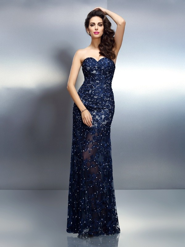 Floor-Length Royal Blue Sweetheart Prom Dresses with Beading