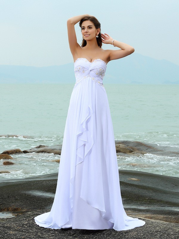 Chiffon A-Line Brush Train Sweetheart White Wedding Dresses