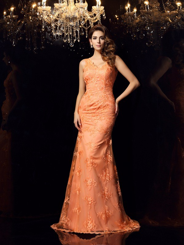Satin Straps Brush Train Orange Prom Dresses