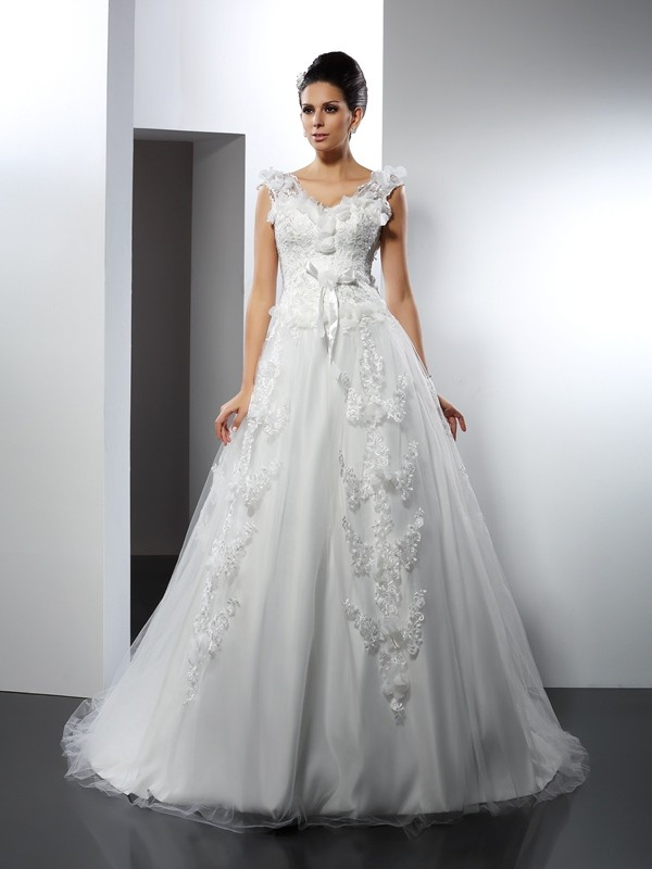 A-Line Straps Cathedral Train Ivory Wedding Dresses
