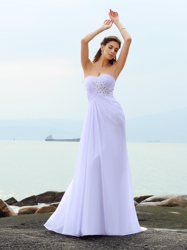 Sheath Sweetheart Chapel Train White Wedding Dresses with Beading