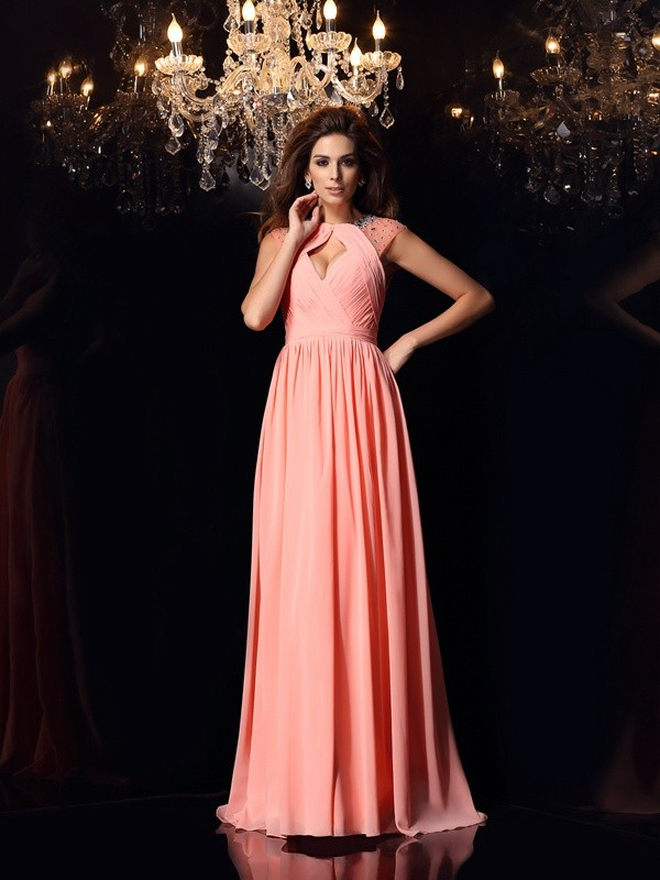A-Line Scoop Brush Train Watermelon Prom Dresses with Beading