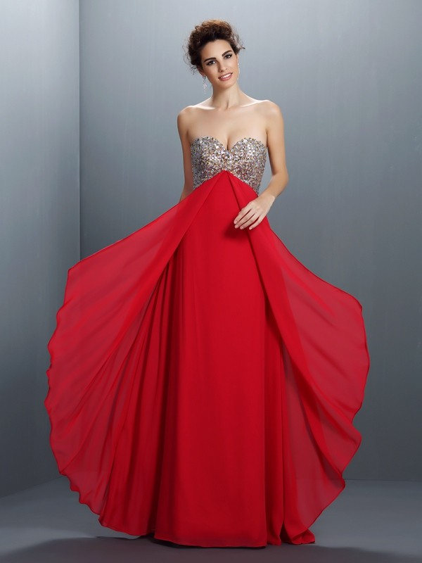 Floor-Length Red Sweetheart Prom Dresses with Beading