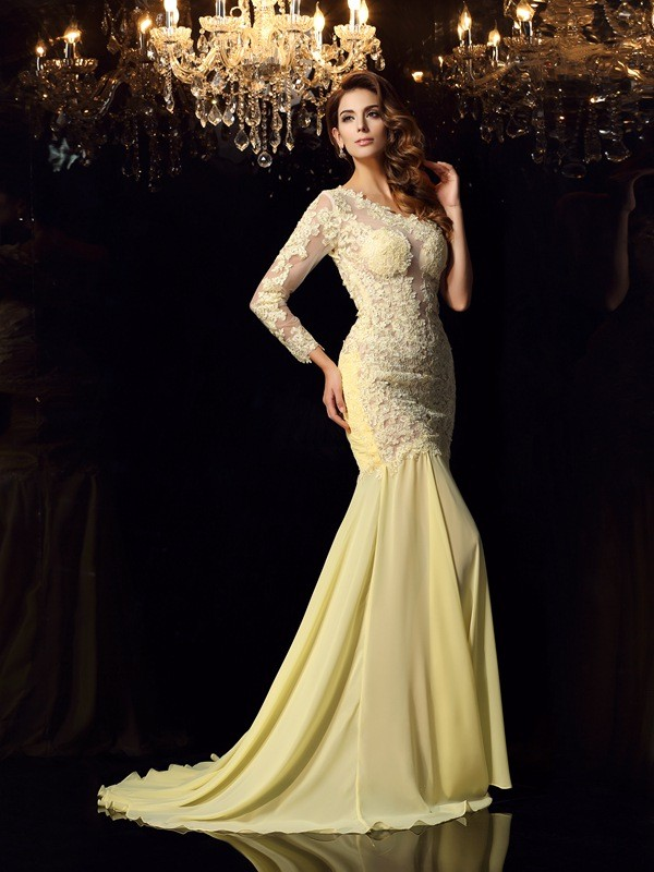 Mermaid One-Shoulder Chapel Train Yellow Prom Dresses