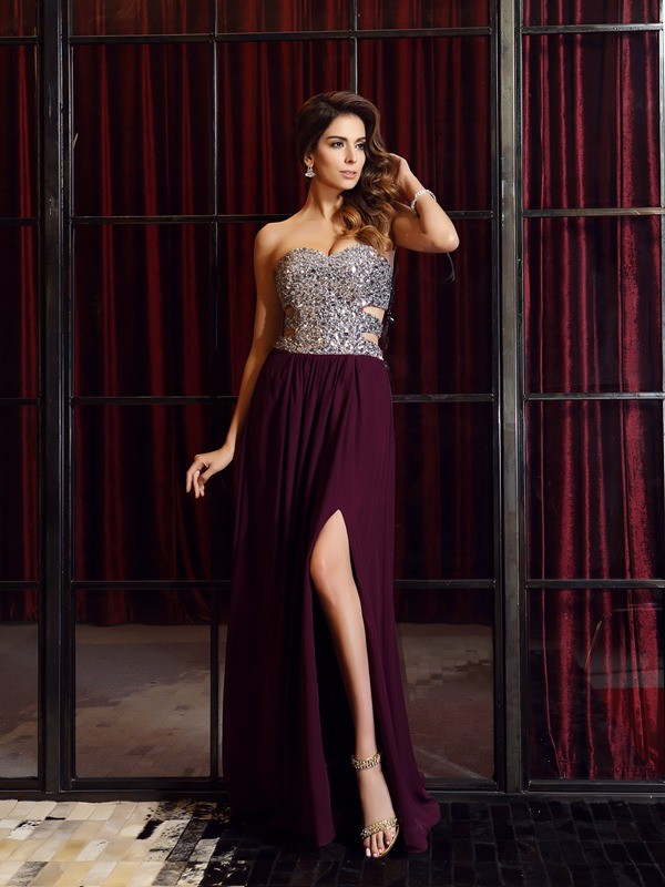 A-Line Sweetheart Brush Train Grape Prom Dresses with Beading