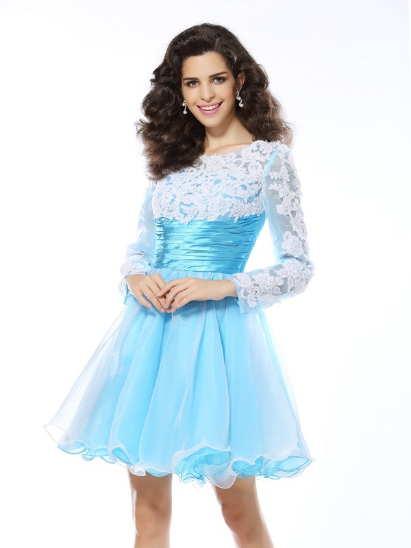Short/Mini Blue Long Sleeves Scoop Homecoming Dresses with Applique