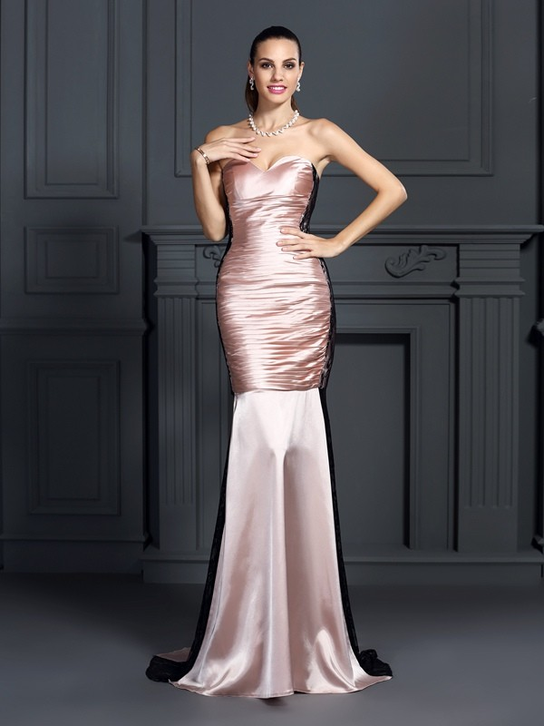 Taffeta Sweetheart Brush Train Pearl Pink Prom Dresses