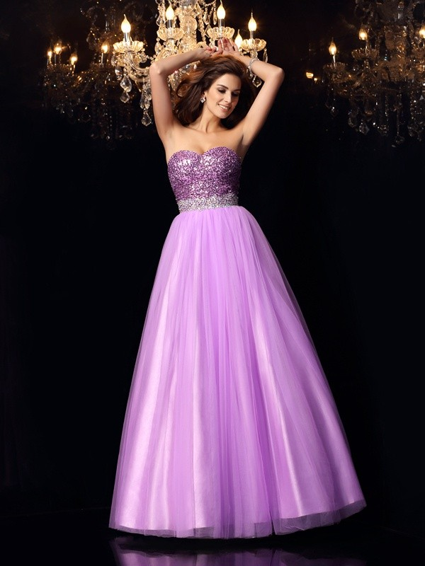 Lilac Ball Gown Sweetheart Floor-Length Prom Dresses with Sequin