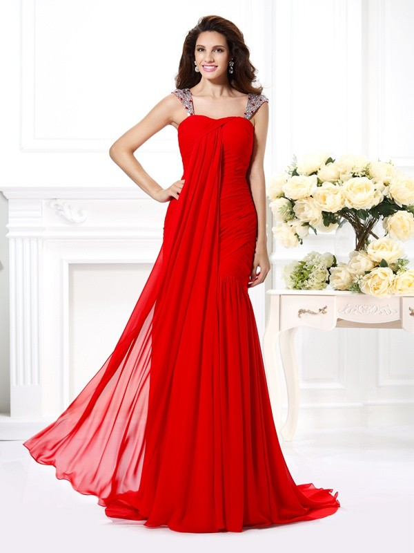 Mermaid Straps Brush Train Red Prom Dresses with Beading
