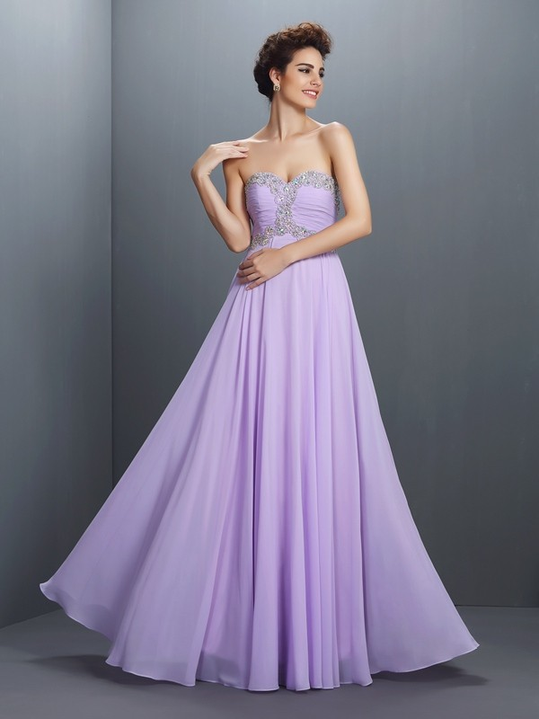 Lavender Sweetheart Chiffon Floor-Length Prom Dresses
