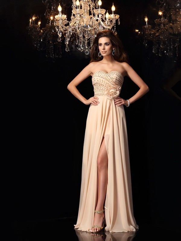 A-Line Sweetheart Floor-Length Pearl Pink Prom Dresses