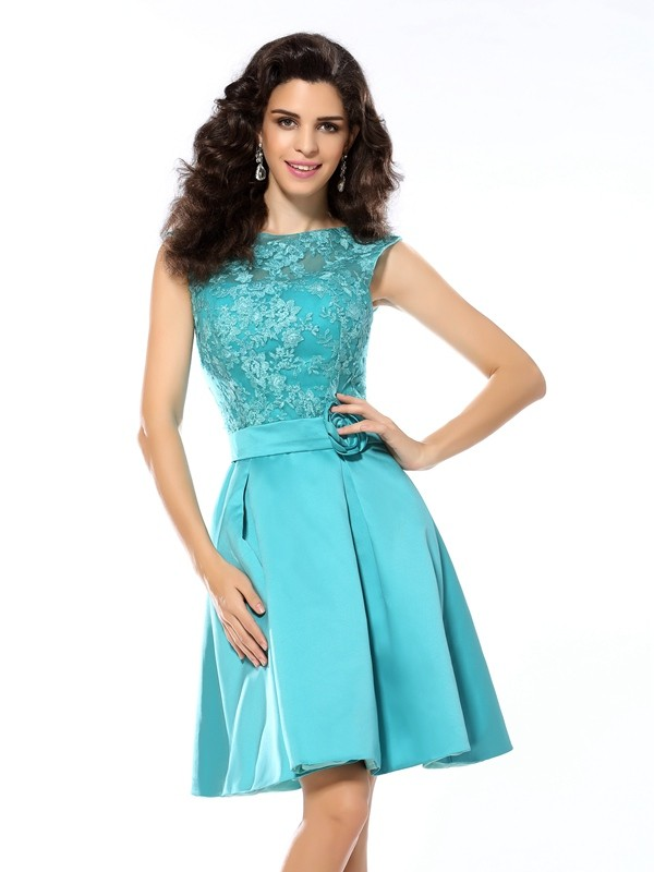 A-Line Scoop Knee-Length Blue Homecoming Dresses